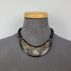 Vintage Black Marbled Statement Necklace